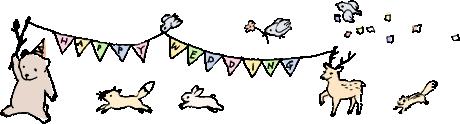 軽井沢の結婚式をお祝う動物たちのイラスト